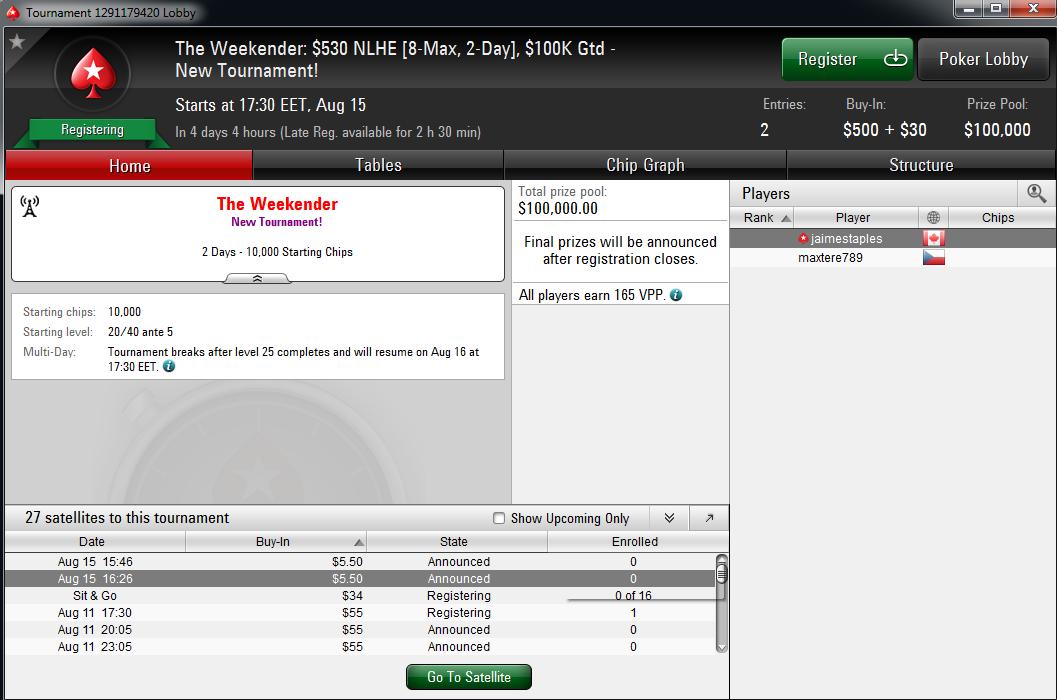 """PokerStars pristato """"The Weekender"""": naują dviejų dienų savaitgalio turnyrą 101"""