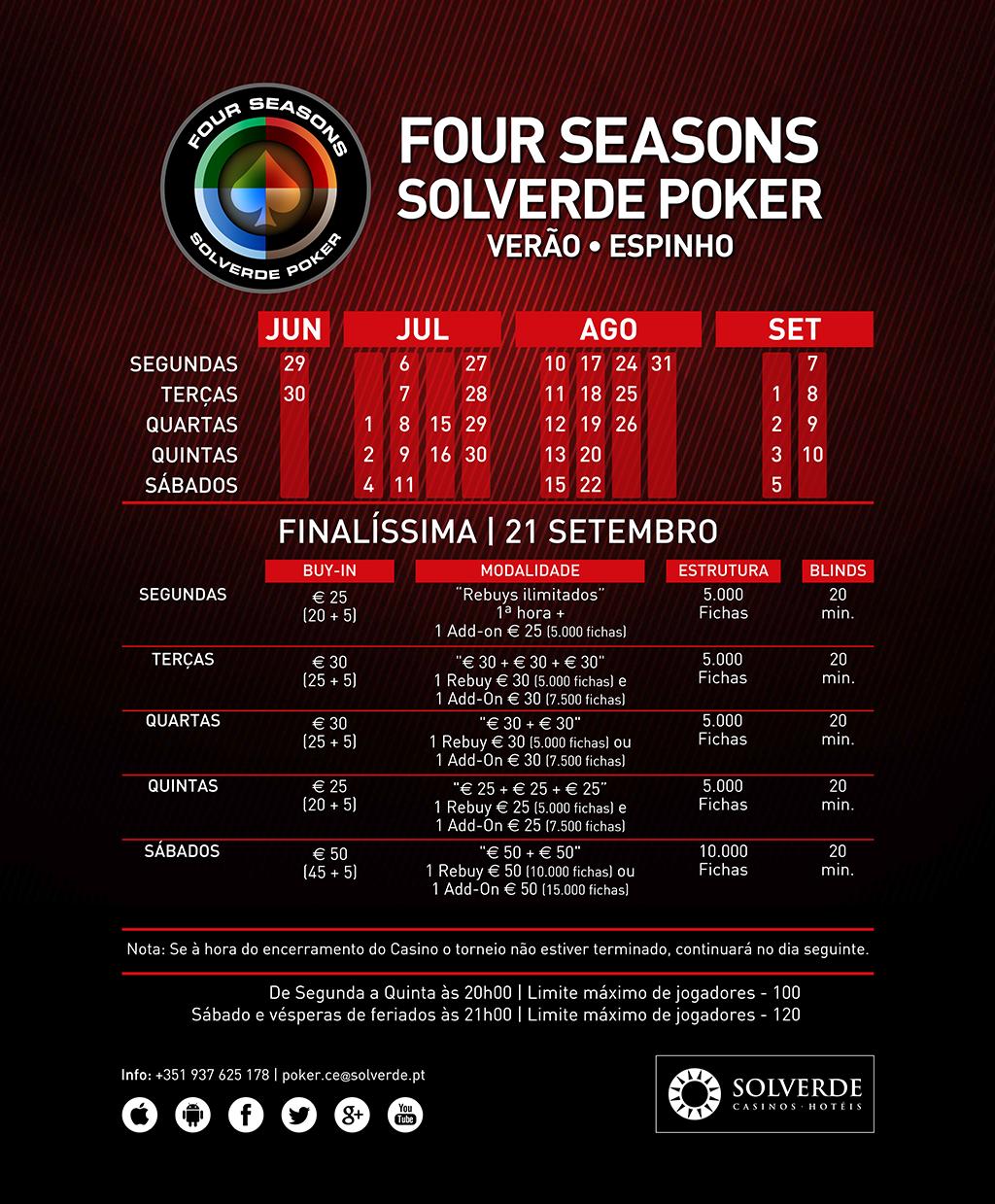 Amanhã às 21:00 Four Seasons Solverde Poker Verão no Casino de Espinho 101