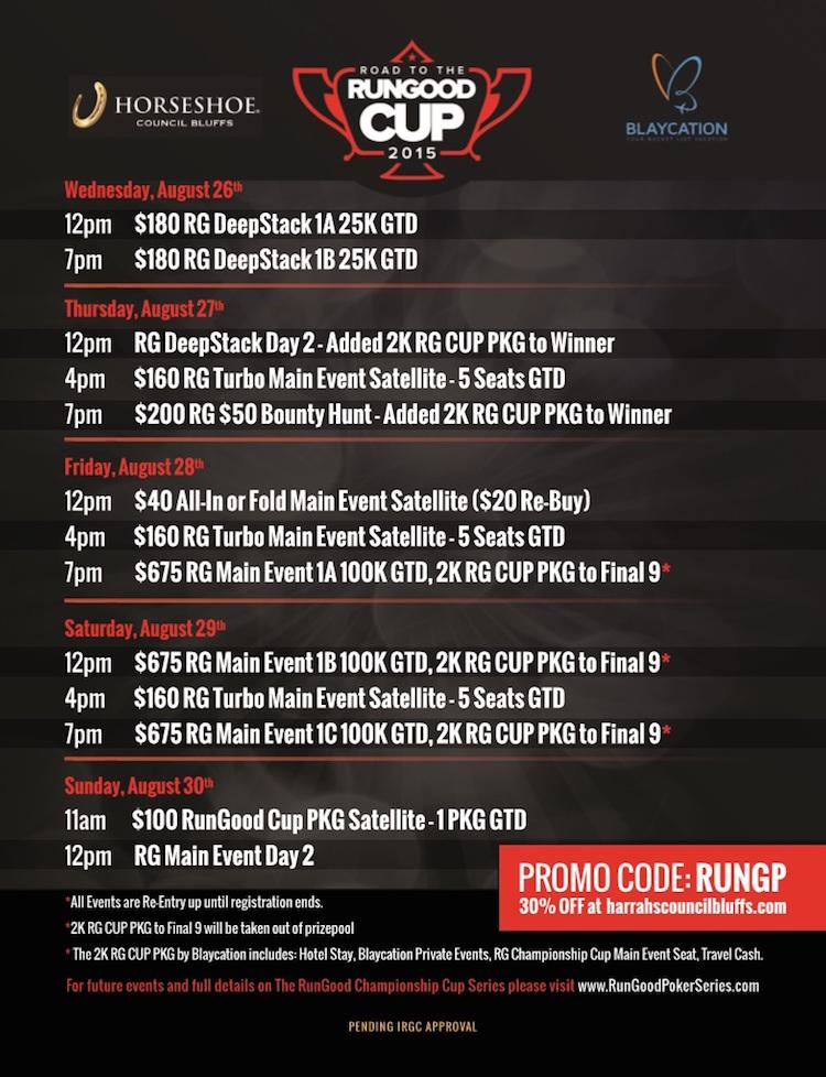 RunGood Poker Series Horseshoe Council Bluffs Kicks Off Tomorrow; 0K GTD Main Event 101