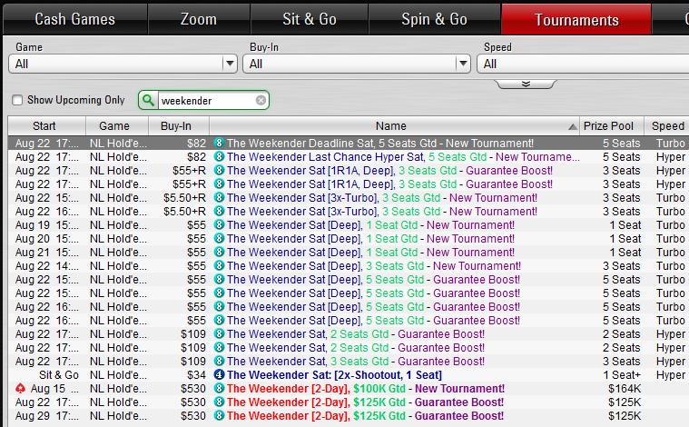 """PokerStarsis nüüd nädalavahetusel kahepäevane turniir """"The Weekender"""" 101"""