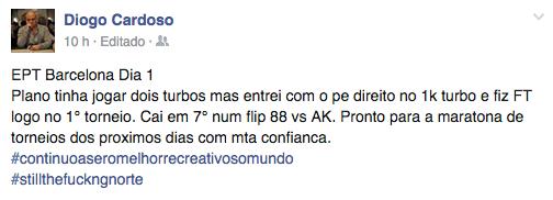 EPT Barcelona: Diogo Cardoso 7º no Evento #8 €1k NL Turbo (€7,580) 101