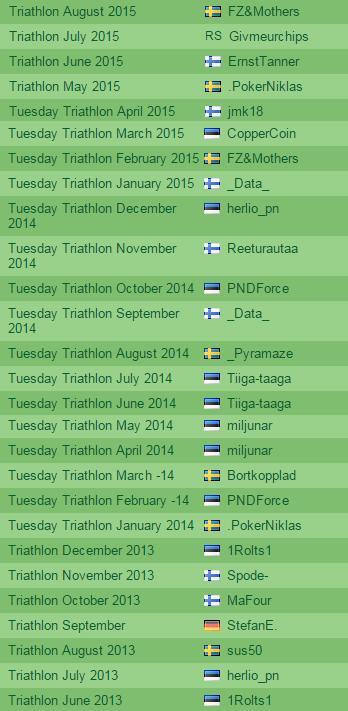 Paf Tuesday Triathlon kuuarvestuse on viis eestlast võitnud kahel korral 101