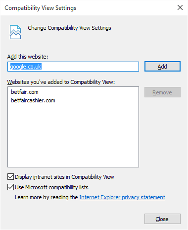 Compatibility View Settings in Internet Explorer