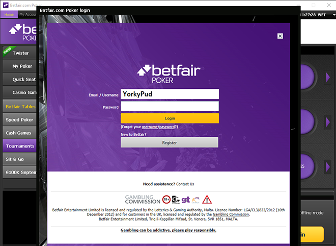 Betfair Poker ready to play using Windows 10