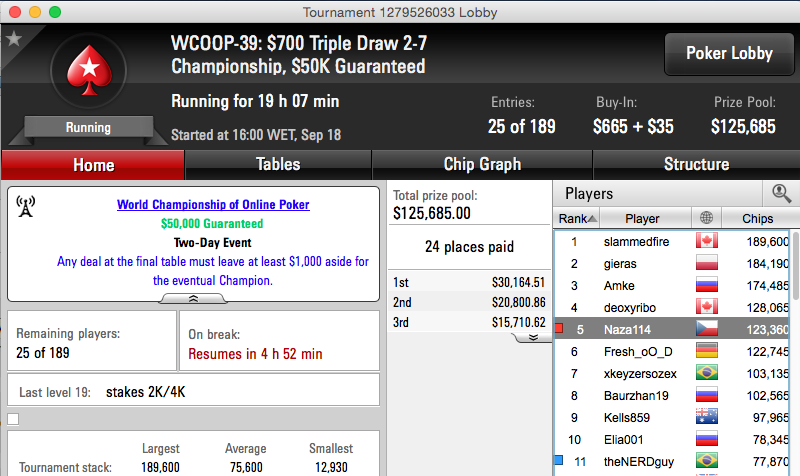 WCOOP: Michel Dattani na FT do #40 & Naza114 5/25 no Evento #39 102