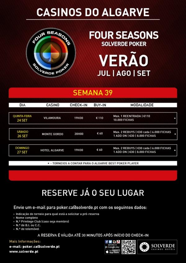 Calendário Semanal e Novidades na Four Seasons Solverde Poker Algarve 101