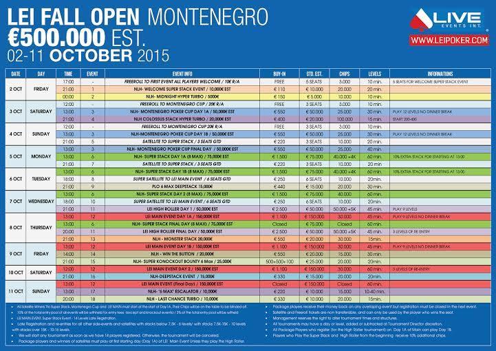 Lei Fall Open Poker Festival sa €500,000 GTD od 2. do 11. Oktobra u Crnoj Gori 101
