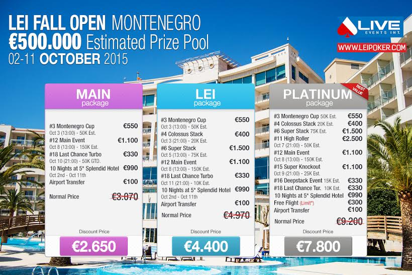 Lei Fall Open Poker Festival sa €500,000 GTD od 2. do 11. Oktobra u Crnoj Gori 102