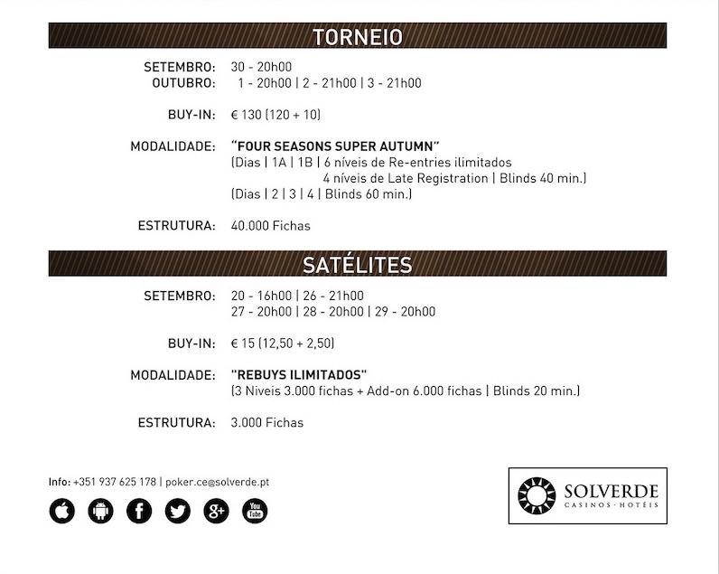Satélites e Calendário Four Season Super Autumn (€20K GTD) no Casino de Espinho 101