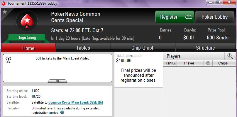 "Pokerstarsis 5.10 - 11.10 sendifestival ""Common Cents"" (tulemas PokerNewsi eriturniir) 101"
