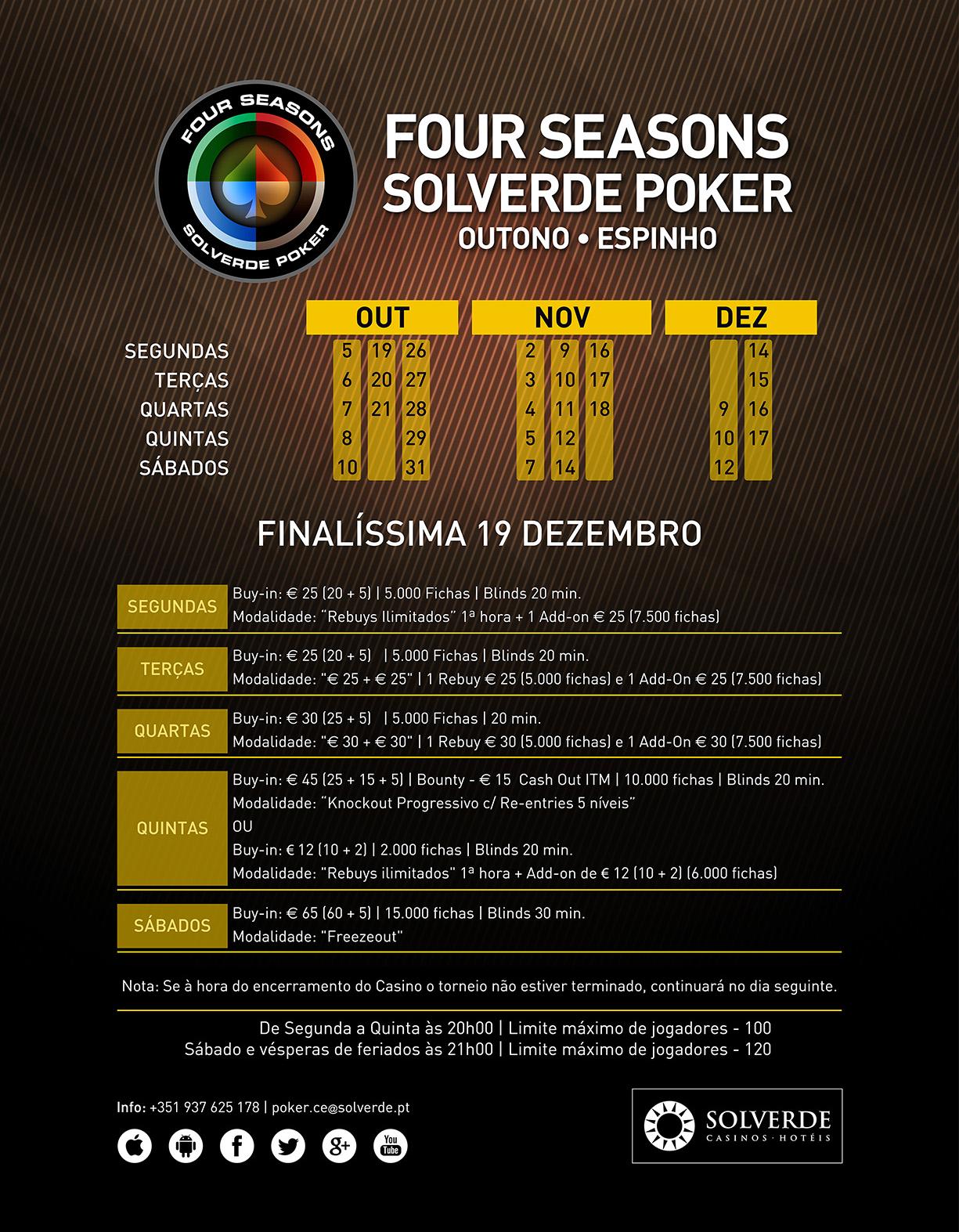 Four Seasons Solverde Poker Outuno Até 17 de Dezembro no Casino de Espinho 101