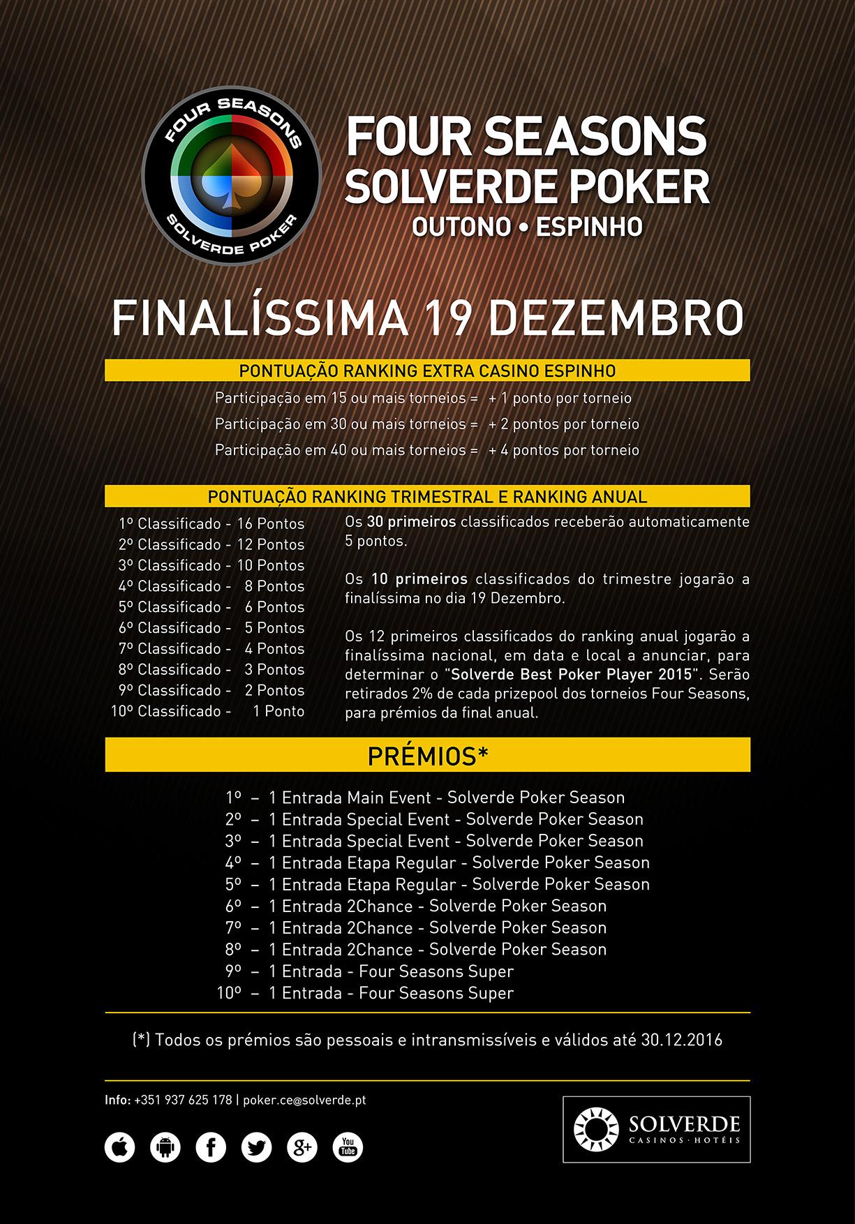 Four Seasons Solverde Poker Outuno Até 17 de Dezembro no Casino de Espinho 102