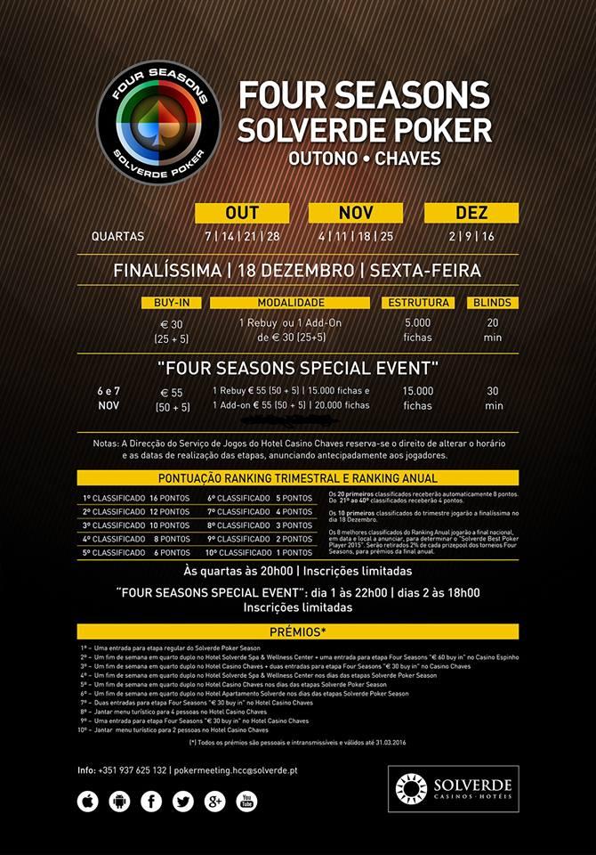 Arranca Hoje a Four Seasons Solverde Poker Outuno no Hotel Casino Chaves 101