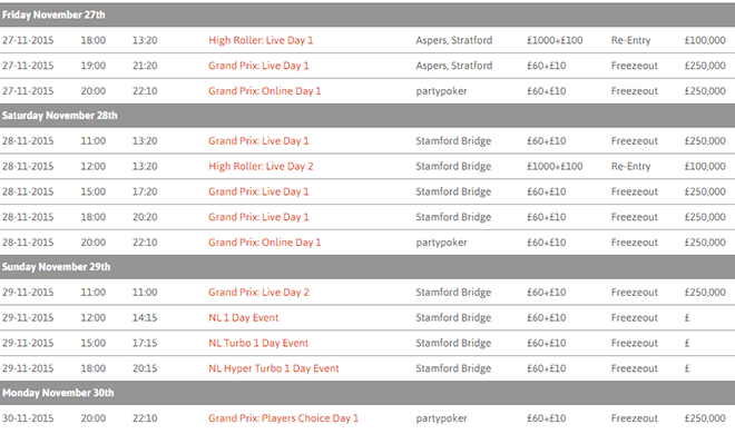 Grand Prix Poker Tour Stamford Bridge schedule