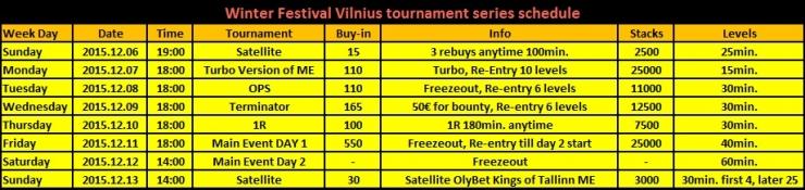 """Olympic Poker Club"" skelbia satelitų tvarkaraštį į ""Winter Festival Vilnius""... 101"
