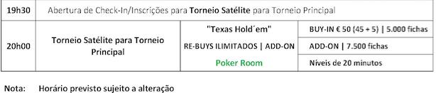 Hoje às 20:00 Último Satélite Main Event Solverde Poker Season 101
