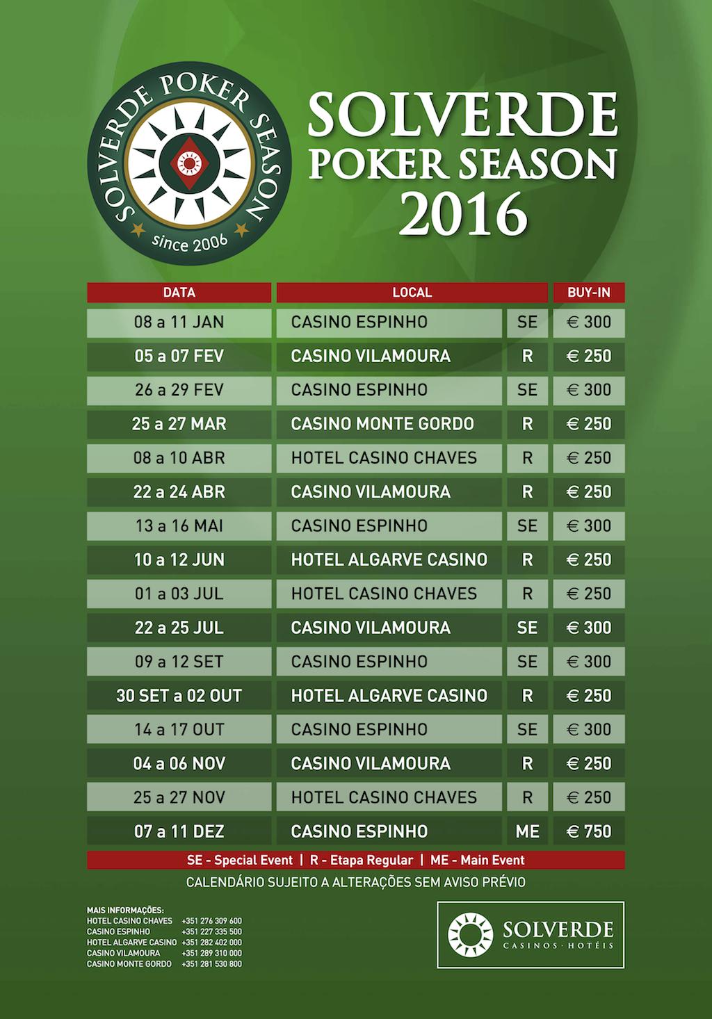 Calendário Solverde Poker Season 2016 - 16 Etapas e Novidades nos Buy-ins 101