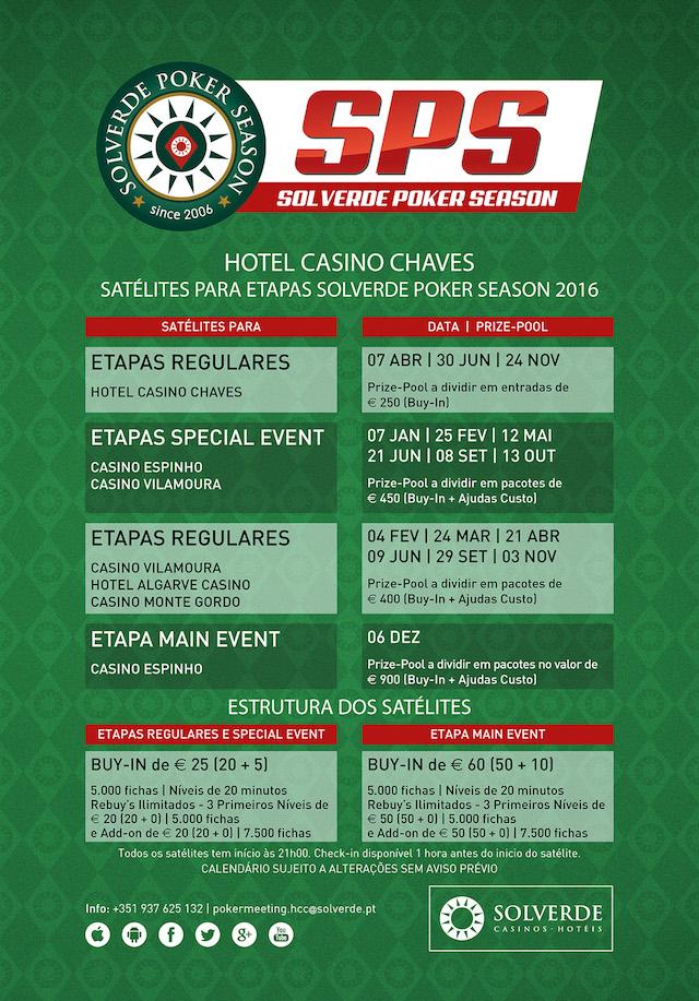 Solverde Poker Season 2016: Hoje às 21:00 Satélite no Hotel Casino Chaves 101