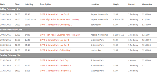 partypoker Grand Prix Poker Tour Heads to St. James' Park 101