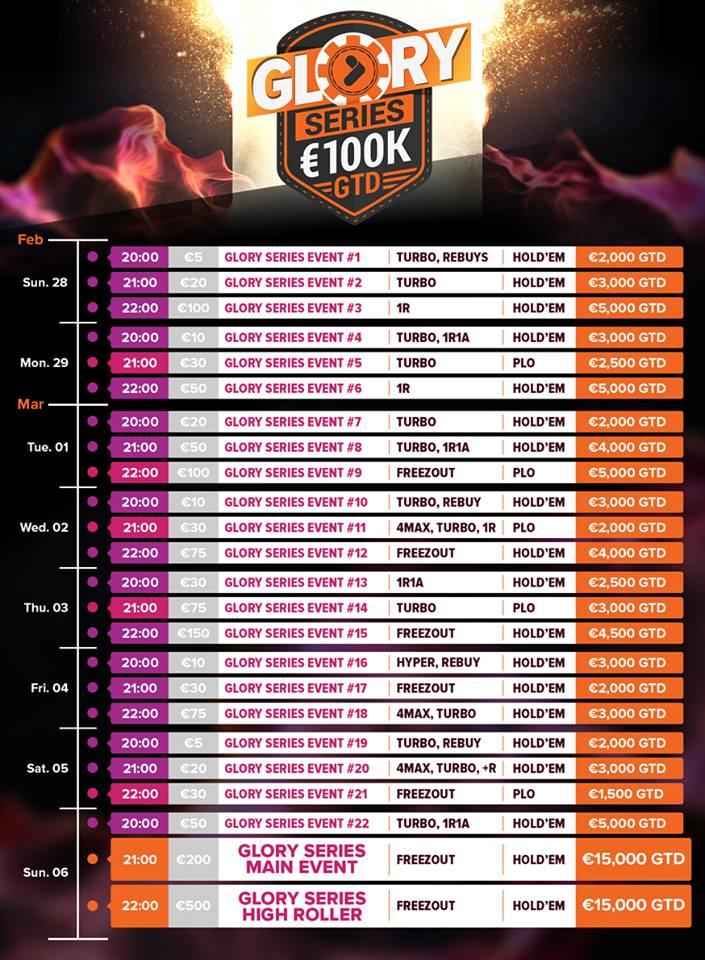 """""""TonyBet Poker"""" skelbia 100,000 eurų garantijos """"Glory"""" seriją 101"""