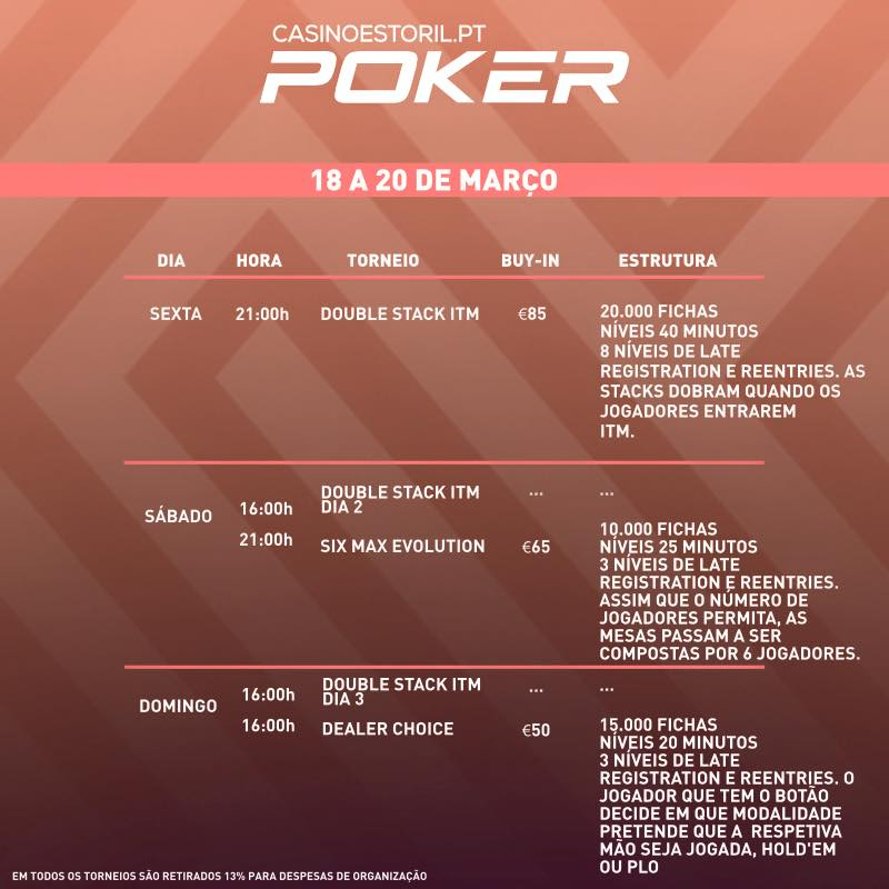 Double Stack ITM, 6-Max Evolution e Dealer Choice no Casino Estoril 101