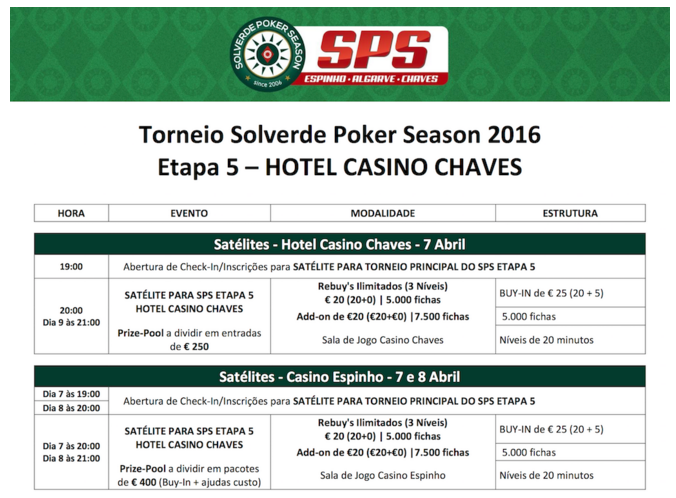 Etapa 5 Solverde Poker Season 2016: Satélites em Chaves e Espinho 101