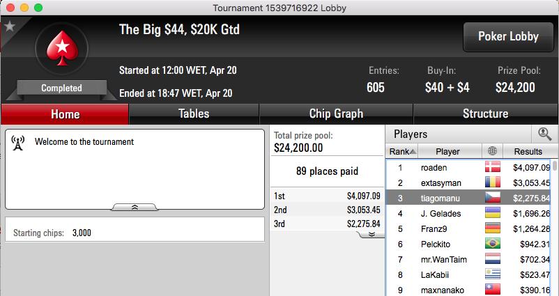 CLEMENTEBOMBA69 3º no Winning Poker OSS VI #33 (k) & Mais 103