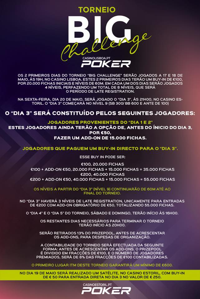 Big Challenge: de 17 a 22 de Maio nos Casino de Lisboa & Estoril 101