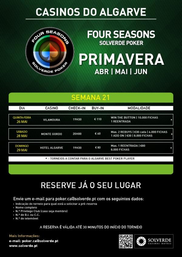 Calendário Four Seasons Solverde Poker Algarve - 26 a 29 de Maio 101