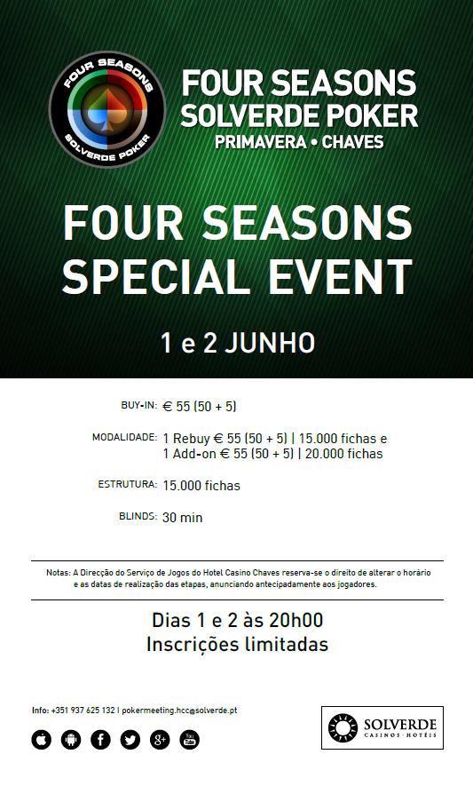 Four Seasons Special Event - 1 e 2 de Junho no Hotel Casino Chaves 101