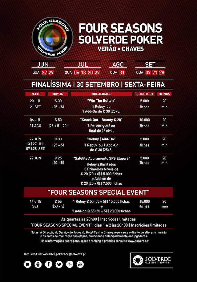 Calendário Semanal Four Seasons Solverde Poker Verão: Espinho, Chaves e Algarve 102