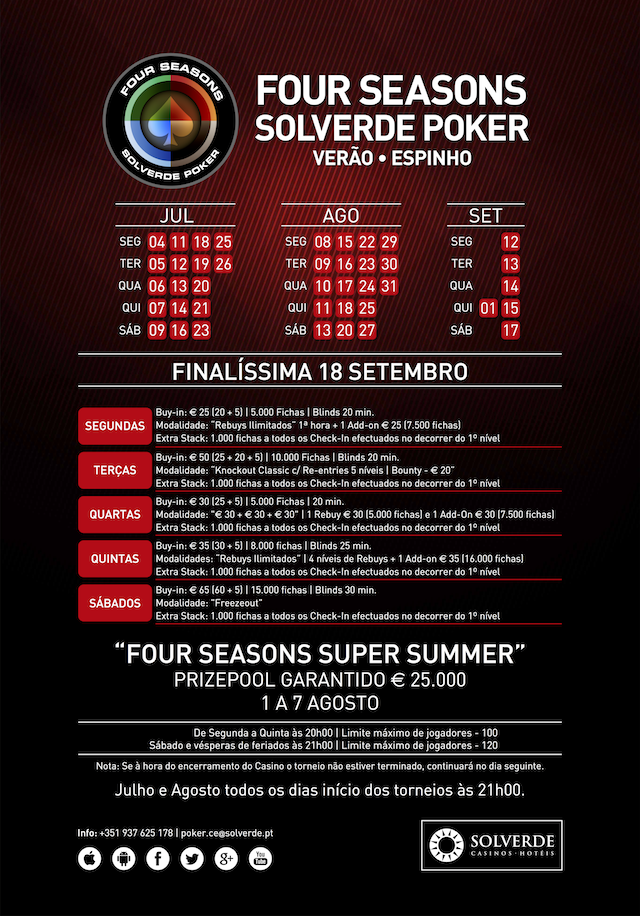 Calendário Semanal Four Seasons Solverde Poker Verão: Espinho, Chaves e Algarve 101