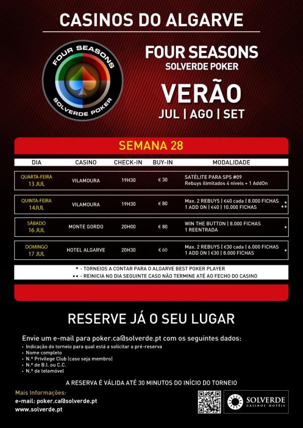 Calendário Semanal Four Seasons Solverde Poker Verão: Espinho, Chaves e Algarve 103