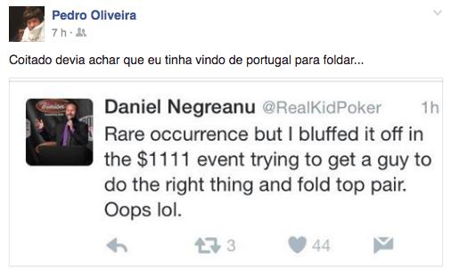 Pedro Oliveira no Dia 3 do Evento #69: .111 Little One for One Drop; Cabeça Foi 107º... 101