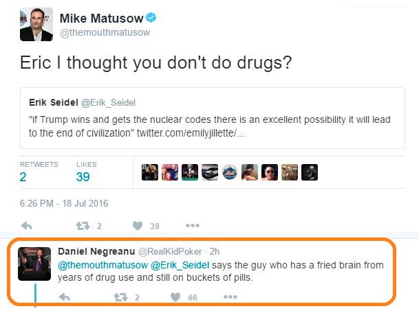 """""""Diz o gajo que tem o cérebro todo queimado"""" diz Negreanu sobre Matusow 101"""