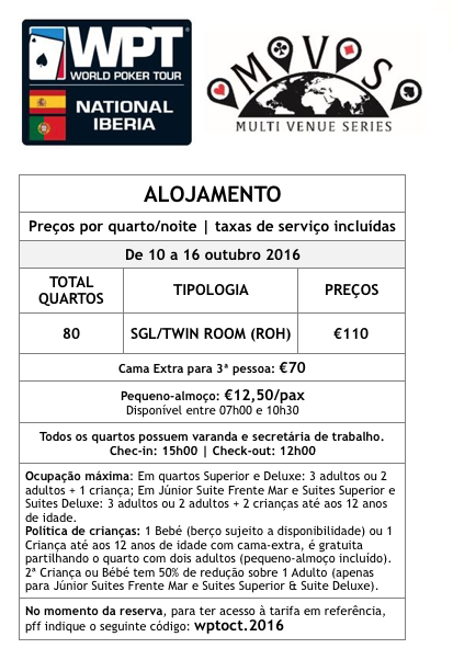 WPT National Iberia - Pacotes Especiais de Alojamento em Vilamoura/Portimão 101