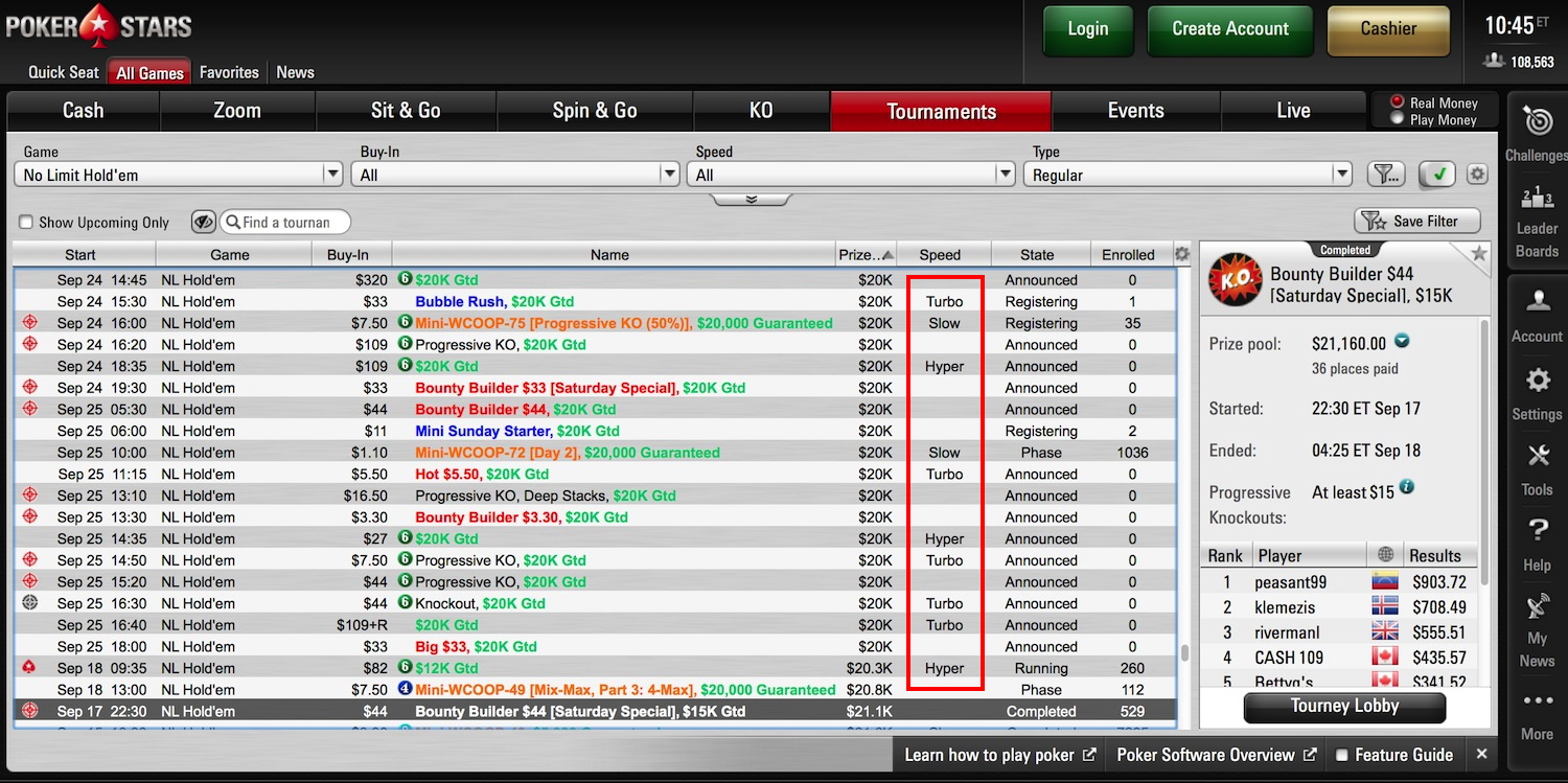 lobby on PokerStars for online tournaments