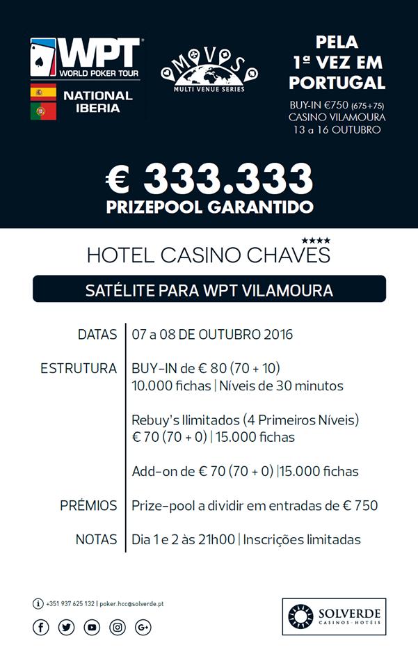 Satélites WPT National Iberia 7 e 8 de Outubro no Hotel Casino Chaves 101