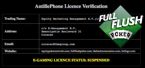 Full Flush Poker с прекратен лиценз и неработещ сайт... 101