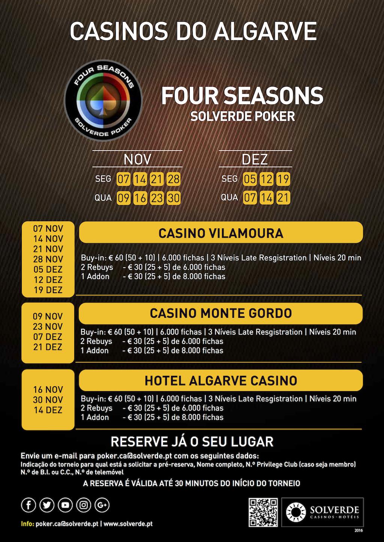 Calendário Four Seasons Solverde Poker Outono no Algarve 101