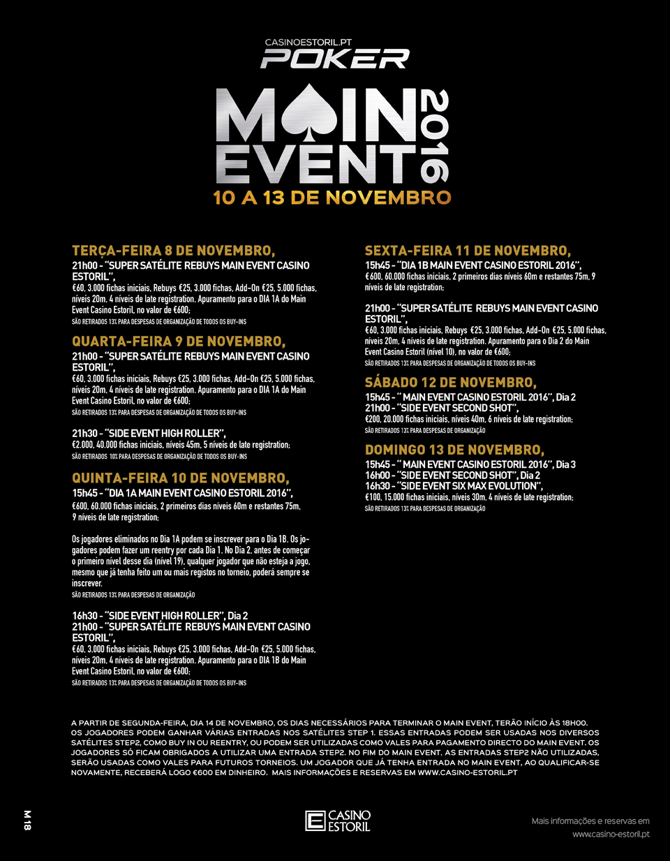 Satélites Main Event Casino Estoril 3 a 6 de Novembro 101