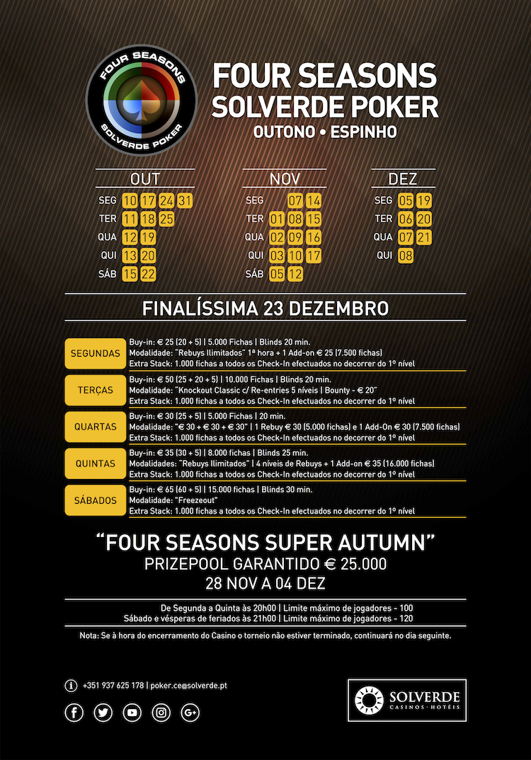 Calendário Semanal Four Seasons Solverde Poker (7 a 12 Nov.) 101