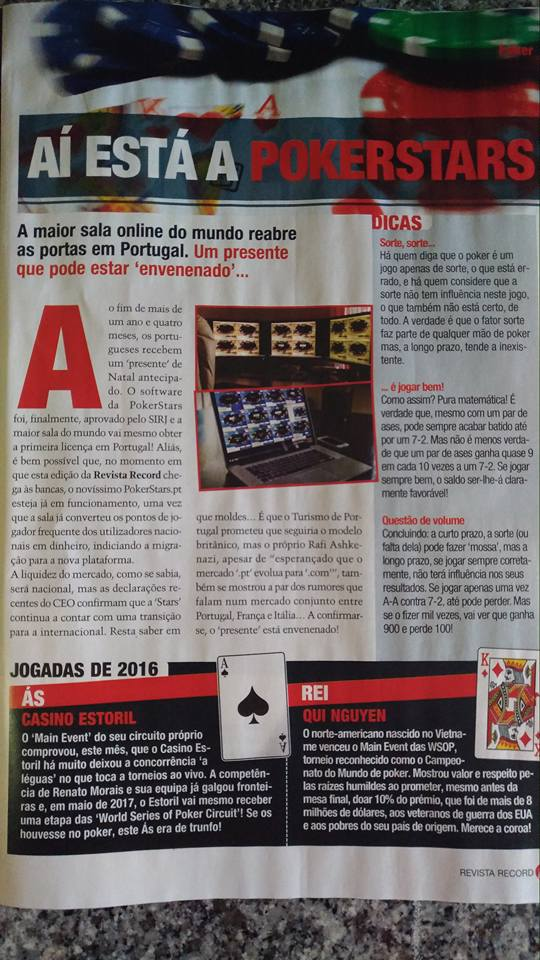 """Aí Está a PokerStars"" diz a Revista do Record 101"