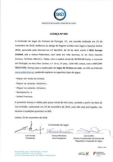PokerStars Recebe Licença para Operar Portugal 101