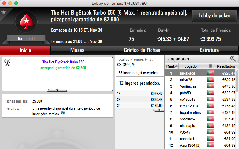 "Nuno ""Fellini"" Teixeira Vence Big €100 PokerStars.PT (€1.500) & Mais 102"