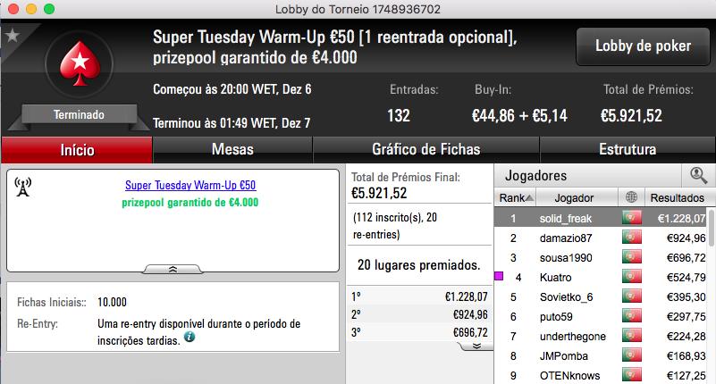 tribetes10 Vence Super Tuesday €100; Charlie o Warm-Up e SlbSpade o Battle 102