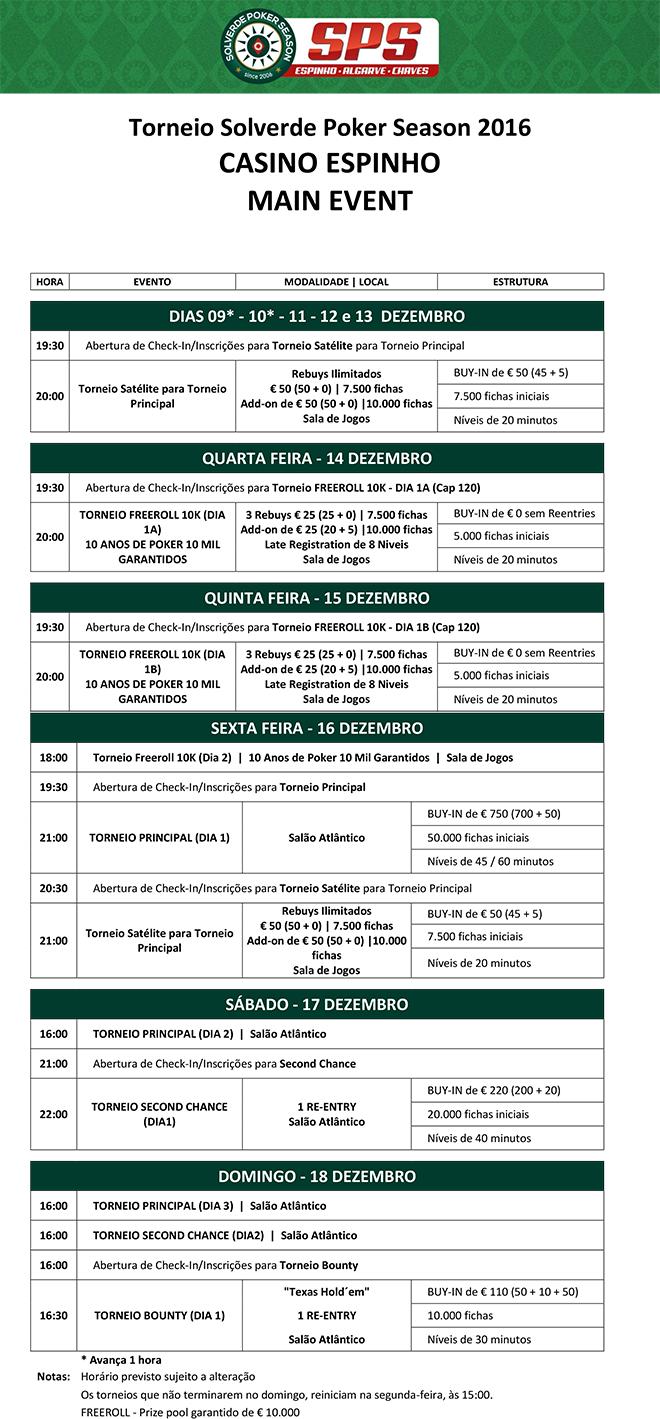 Calendário Main Event Solverde Poker Season 2016: 14 a 18 Dezembro 101