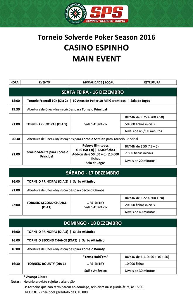 Calendário Satélites Main Event Solverde Poker Season 2016: 9 a 13 e 16 Dezembro 102