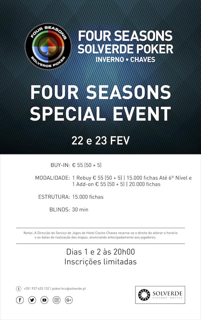 Calendário Four Seasons Solverde Poker Inverno no Hotel Casino Chaves 102