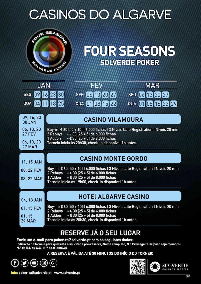 Calendário Four Seasons Solverde Poker Inverno Algarve 101